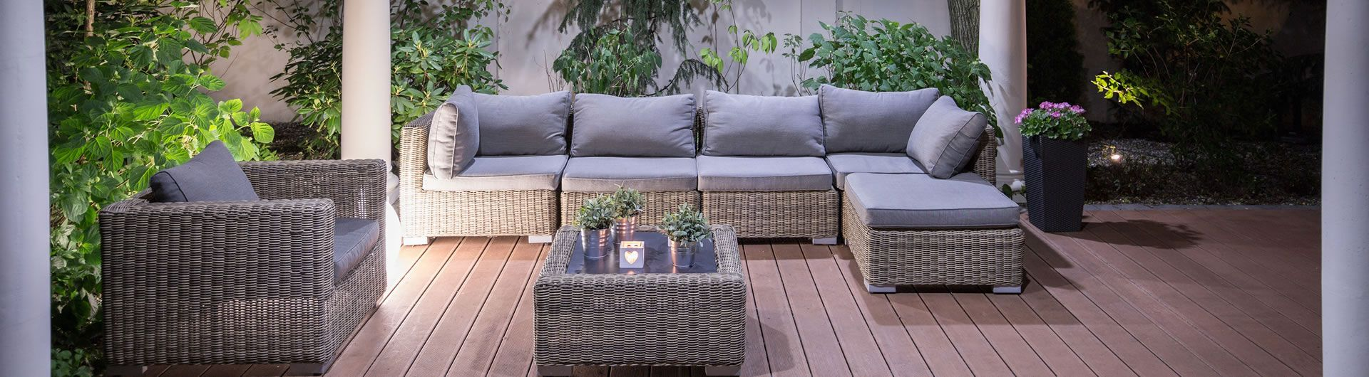 Evening blue grey patio setting
